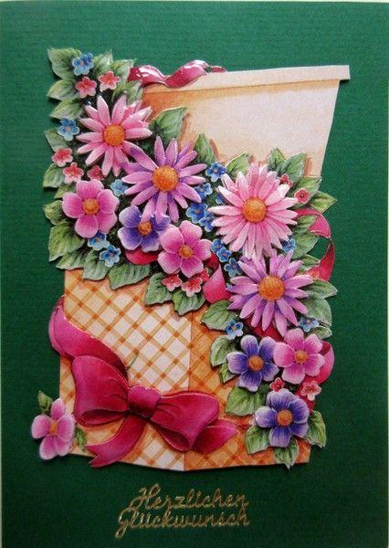 Blumenkarte Herzlichen Glückwunsch in dunkelgrün