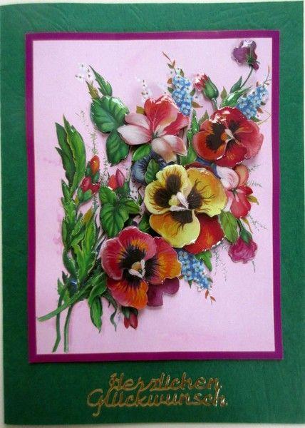 Geburtstagskarte mit Stiefmütterchen