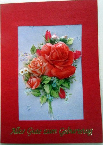 Rote Karte mit Rosen Alles Gute zum Geburtstag
