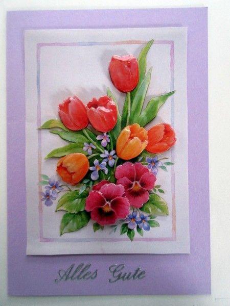Glückwunschkarte Alles Gute mit Tulpen