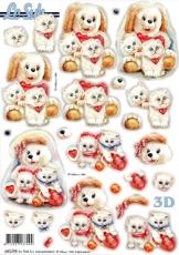3D-Stanzbogen Weiße Kätzchen von LeSuh (680.098)