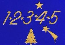 Sticker - Zahlen für Adventskalender - gold - 8525
