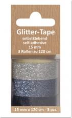 Glittertape - silber - anthrazit - schwarz  von Reddy (002365)