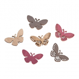 24x Holz-Streuteile Schmetterlinge