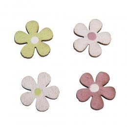 36x Holz-Streuteile Mini-Blumen