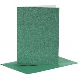 Doppelkarten-Set - Glitter - grün - 4 Karten A6 & 4 Umschläge C6 (Card Making)