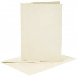 Doppelkarten-Set - Perlmutt - elfenbein - 4 Karten A6 & 4 Umschläge C6 (Card Making)