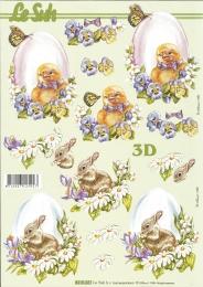3D-Bogen Osterei mit Küken und Hase von LeSuh (8215221)