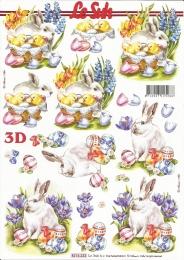 3D-Bogen Osterhase mit Frühlingsblumen von LeSuh (8215232)
