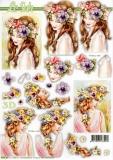 3D-Stanzbogen Blumenmädchen von LeSuh (680.066)