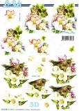 3D-Stanzbogen Amsel mit Blüten von LeSuh (680.063)