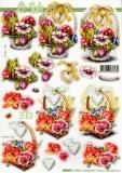 3D-Stanzbogen Korb mit Frühlingsblumen von LeSuh (680.068)
