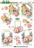 3D-Stanzbogen Metallic Blumen von LeSuh (600.005)