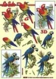 3D-Stanzbogen Metallic Papageien von LeSuh (600.009)