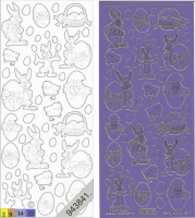 Sticker - Ostern 1 - violett-gold - 880