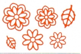 Sticker - Blumen 19 - orange - 1111