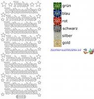Glitter-Sticker - Frohe Weihnachten - silber - 465