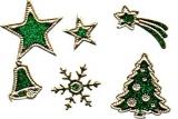 Glitter-Sticker -Weihnachtsmotive -grün-gold-7070