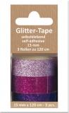 Glittertape - rosè - fuchsia - lila  von Reddy (002362)