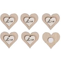 8x Holz-Streuteile Herz / Love