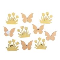 10x Holz-Streuteile Blumen + Schmetterling