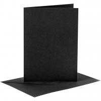 Doppelkarten-Set - schwarz - 6 Karten A6 & 6 Umschläge C6 (Card Making)