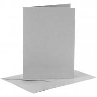 Doppelkarten-Set - grau - 6 Karten A6 & 6 Umschläge C6 (Card Making)