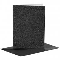 Doppelkarten-Set - Glitter - schwarz - 4 Karten A6 & 4 Umschläge C6 (Card Making)