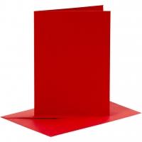 Doppelkarten-Set - rot - 6 Karten A6 & 6 Umschläge C6 (Card Making)