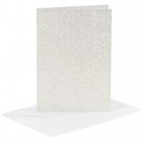 Doppelkarten-Set - Glitter - weiß - 4 Karten A6 & 4 Umschläge C6 (Card Making)