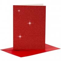 Doppelkarten-Set - Glitter - rot - 4 Karten A6 & 4 Umschläge C6 (Card Making)
