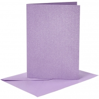 Doppelkarten-Set - Perlmutt - lila - 4 Karten A6 & 4 Umschläge C6 (Card Making)