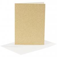 Doppelkarten-Set - Glitter - gold - 4 Karten A6 & 4 Umschläge C6 (Card Making)