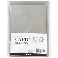 Doppelkarten-Set - Perlmutt - silber - 4 Karten A6 & 4 Umschläge C6 (Card Making)