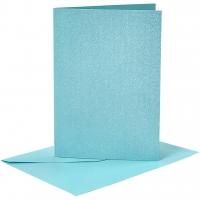 Doppelkarten-Set - Perlmutt - blau - 4 Karten A6 & 4 Umschläge C6 (Card Making)