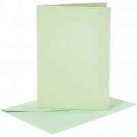 Doppelkarten-Set - Perlmutt - hellgrün - 4 Karten A6 & 4 Umschläge C6 (Card Making)