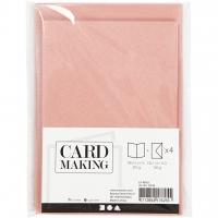 Doppelkarten-Set - Perlmutt - rosa - 4 Karten A6 & 4 Umschläge C6 (Card Making)