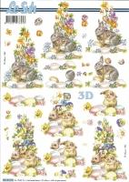 3D-Bogen Hasen mit Frühlingsblumen von LeSuh (8215319)