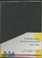Karten-Set A6 mit Büttenrand - schwarz