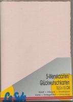 Karten-Set A6 mit Büttenrand - hellrosa