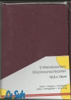 Karten-Set A6 mit Büttenrand - brombeer