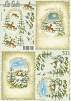 3D-Bogen Rehe und Vögel im Winter von LeSuh (4169179)