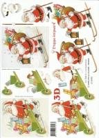 3D-Bogen Weihnachtsmann mit Schubkarre und Ski von LeSuh (416990)