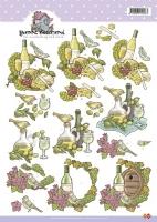 3D-Bogen - Weinflasche - Yvonne Creations
