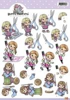 3D-Bogen - Mädchen mit Schere - Yvonne Creations