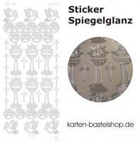 Platin-Sticker (Spiegelglanz) - Kommunion JHS - silber - 3084