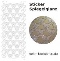 Platin-Sticker (Spiegelglanz) - Schmetterlinge und Blumen - gold - 3078