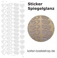 Platin-Sticker (Spiegelglanz) - Herzen - gold - 3079