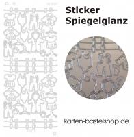 Platin-Sticker (Spiegelglanz) - Babysachen - silber - 3087