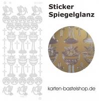 Platin-Sticker (Spiegelglanz) - Kommunion JHS - gold - 3084